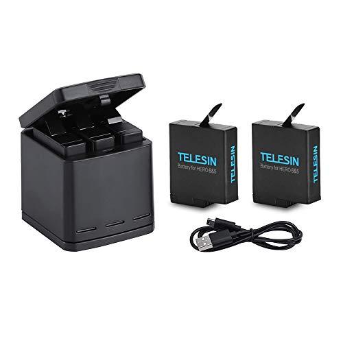 TELESIN Chargeur triple et compartiment de rangement de batterie Suit Chargeur 3 canaux avec 2 batteries lithium-ion rechargeables pour Gopro Hero 6 Black, Hero 5 Black