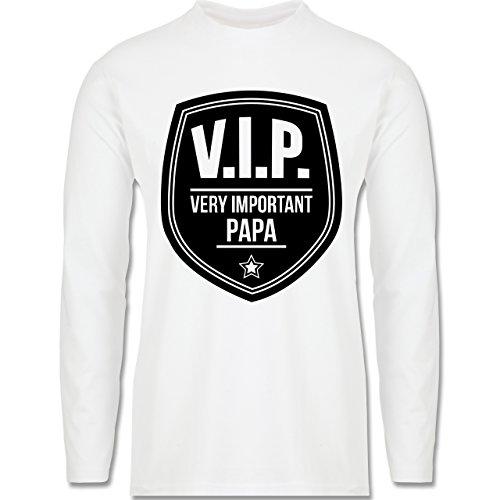 Vatertag - V.I.P. - Very important Papa - Longsleeve / langärmeliges T-Shirt für Herren Weiß