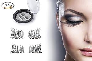 Glissades magnétiques pour les yeux, eBuy Faux cils magnétiques 3D Fake Eyelashes Extension réutilisable (4 pièces, noir)