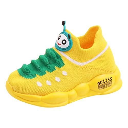 Dorical Gestrickt Sneakers für Baby Mädchen Jungen,Kinder Cartoon Atmungsaktiv Socken Schuhe Kleinkind Kinder Turnschuhe Laufen Sport Stiefel Schuhe Bequem rutschfest Kinderschuhe(Gelb,22.5 EU)