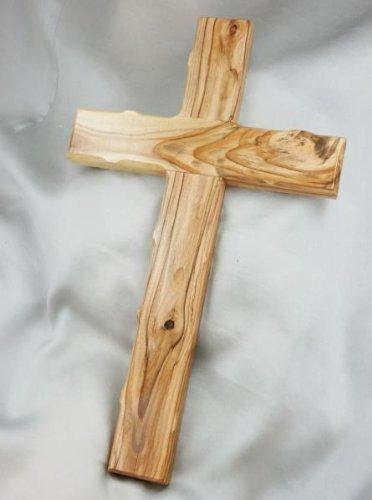 Holzkreuz Olivenholz gekerbte Kanten 25 cm