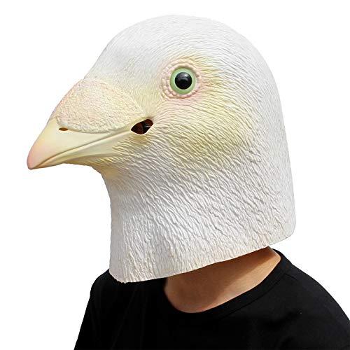 PartyCostume - Weiße Taube Maske - Halloween Latex Tier Den Kopf Voll Vogel Maske (Latex Maske Vogel)