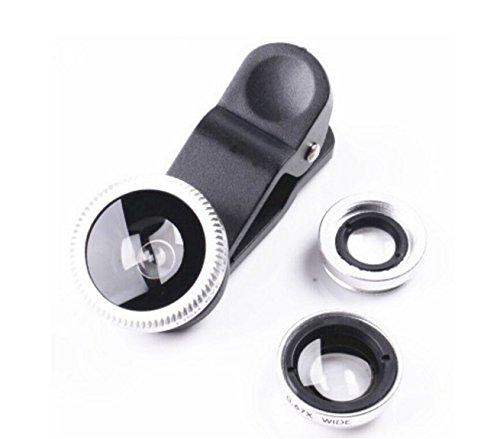 Leichtes & kompaktes 3 in 1 Clip-on Kamera-Adapter/Objektiv Set für Smartphones - Fischaugenobjektiv (180° Fisheye Linse) + Weitwinkel (0,65x Wide) + Makroobjektiv (10x) - für Alle Handys Geeignet