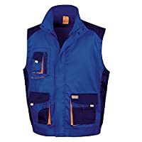 Result Mens Work-Guard Lite Workwear Gilet / Bodywarmer (Breathable And Windproof) (XL) (Royal / Navy / Orange)