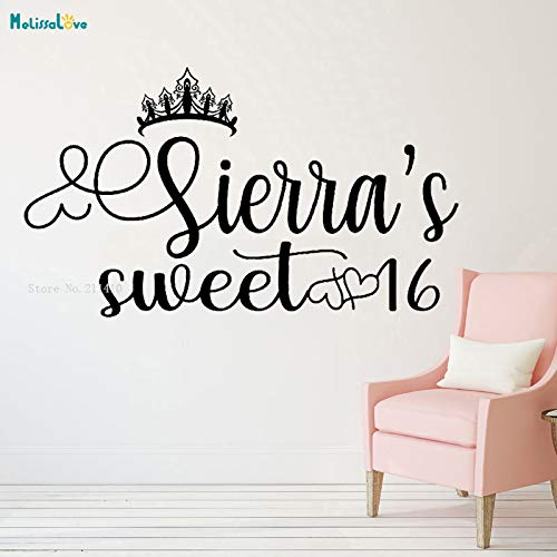 Prinzessin Thema Sweet 16 Dance Floor Decal personalisierte Namen große Rezeption Decals Party Krone Dekoration Vinyl Wandbilder YT L 97 x 56 cm (16 Thema Sweet)