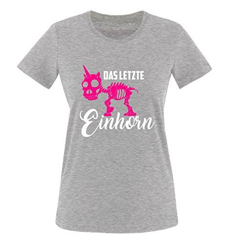 Comedy Shirts - Das letzte Einhorn - Skelette - Damen T-Shirt - Graumeliert/Weiss-Pink Gr. M - Familie Womens Pink T-shirt