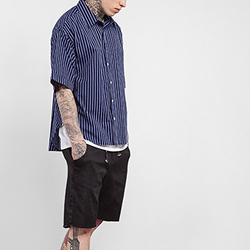 Honghu Moda Tinta Unita Button-Down In Forma Sottile Cotone Maniche Corte T-Shirt Maglietta Uomo Blu