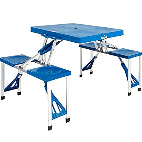 PROGEN BLUE PORTABLE OUTDOOR PLASTIC FOLDING SUITCASE PICNIC TABLE CAMPING