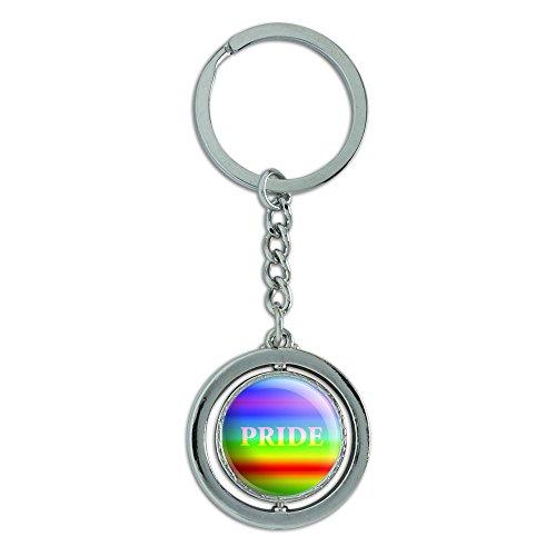Rainbow Spectrum Pride Gay Lesbian Spinning rund Metall Schlüsselanhänger Schlüsselanhänger Ring