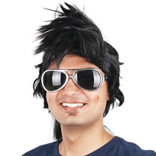 Töten Sie Matt Stil Perücke für europäische und amerikanische Urlaub Cosplay Perücken synthetische Herren lustige schwarze Mohawk Stil Perücke Besen Kopf Perücke Kostüm Karneval Halloween (Perücke Weiß Mohawk)