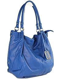 Belli® ital. XXL Shopper Hobo, Sac en cuir nappa Bleu Royal butterweich–48x 37x 16cm (lxhxp)B x H x T), Bleu roi