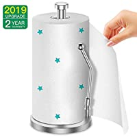 Kitchen Roll Holder, AmazeFan Paper Towel Holder Vertical Design with Spring, Food Grade 304 Stainless Steel, Drawing Process, One-Handed Operation, Multi-Functional Paper Towels, 2 Year Full-Refund