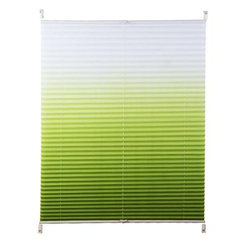 Shiny Home Plissee Jalousie verspannt, klemmfix Faltrollo für Fenster ohne bohren, 90 cm breit, 90 x 130 cm, Farbverlauf Weiß Grün
