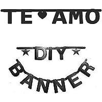SUNBEAUTY bandera especie especial de letra& siglos decoración para bodas Cumpleaños festivales suministros al aire libre (Negro)
