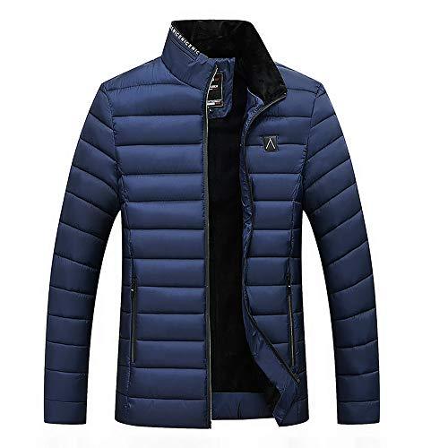 Zolimx Herren Warm Winterjacke Soilde Stehkragen Winter Zip Coats Outwear Samt Baumwollejacke Stehkragen Samt große Größe Männer Baumwolle Gepolsterte Steppjacke Mantel -