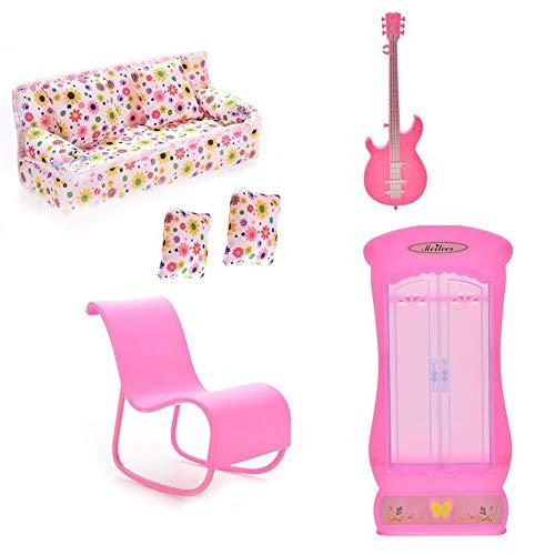 DDG EDMMS 6 Accessoires Barbie Meubles de Maison de poupée Mini-poupée Meubles Canapé Guitare Placard Fauteuil à Bascule avec 2 Accessoires Coussin Barbie Jouet Maison de poupée