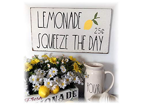Lemonade Squeeze The Day Farmhouse Wall Decorvintage Wood Sign Rustic Wooden Signs Wood Block Plaque Wall Decor Art Home Decoration - 7x12 inch