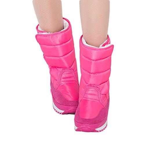 Fortuning's JDS Femmes Fille's Hiver Imperméable Velcro Velu coloré Sakura bottes de neige Bottes courtes Bottes de l'espace rosé