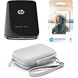 Pack HP Sprocket Plus - Imprimante Photo Portable Noire + Housse Grise + 20 Feuilles Zink (Impression Couleur, 5.8 x 8.6cm, Bluetooth)