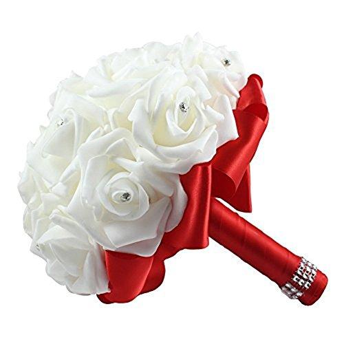 Cosanter matrimonio decorazione rosa per la sposa bouquet con artificiale strass realizzato a mano