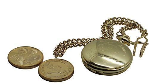 Die Beatles SIGNED Taschenuhr und Sammler Coin 24kt Gold beschichtet Luxus Geschenk in Holzbox John Lennon Ringo Starr Paul McCartney George harison