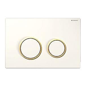 Geberit 115778KK1 Sigma 20 Plaque de recouvrement avec activation par avant rinçage à 2 boutons Blanc/Or