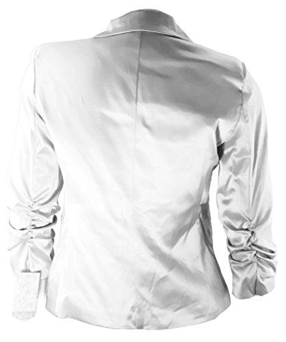 #2125 Damen Blazer Baumwolle Jäckchen Business Office Freizeit Casual Party Jacke Oberteil in Größen Weiß