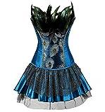 Die besten Adult Halloween-Kostüme - Burlesque Pfau Pattern Korsett Corsage Halloween Karneval Kostüme Bewertungen