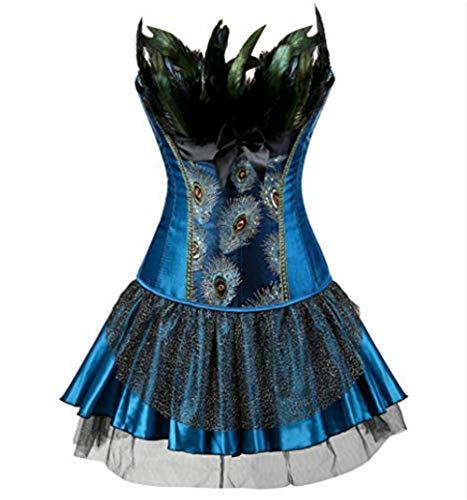 Burlesque Pfau Pattern Korsett Corsage Halloween Karneval Kostüme (EUR(34-36) M, Blau-Blau)