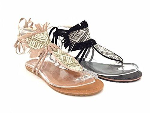 CHIC NANA . Chaussure Femme Mode Sandale à frange, motif style aztec, lacet tour de cheville, bout ouvert entre doigt.