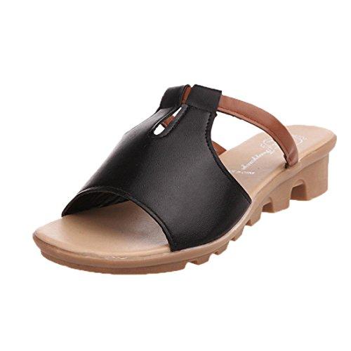 Transer ® Chaussons en cuir femmes sandales de confort d'été Noir