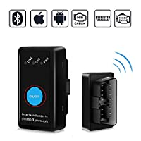 Kimood OBD2 Bluetooth 4.0, Car Diagnostic 2018 New Version Mini OBD2 Wireless Car Diagnostic Adapter, Compatible with iPhone, Android, Windows and Symbian