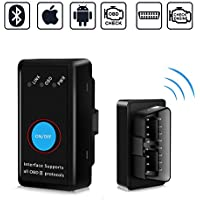 OBD2 Bluetooth 4.0 Kimood 2018 Nueva Versión Auto Diagnostico de Coche OBD2 Diagnosticos, Mini adaptador inalámbrico OBD2 Bluetooth para iPhone iOS Android Windows Symbian Tablet Smartphone, Negro