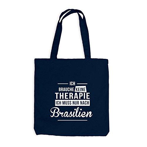 Jutebeutel - Ich Brauche Keine Therapie Brasilien - Therapy Urlaub Brazil Navy