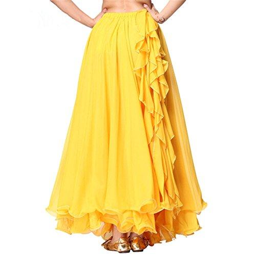 Donne Danzawea Danza del ventre Gonne Tribal Danza Costumes Swing Maxi Gonne Full Circle Gonne Partito Vestito Yellow