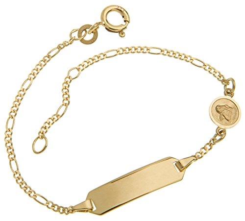 Baby- / Kinder-Gravurarmband mit Schutzengel in echt 333 Gold mit persönlicher Gravur, Länge wählbar von 12-16cm