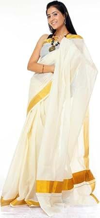 Exotic India Pure Cotton Saree with Blouse (SAI26_Ivory)