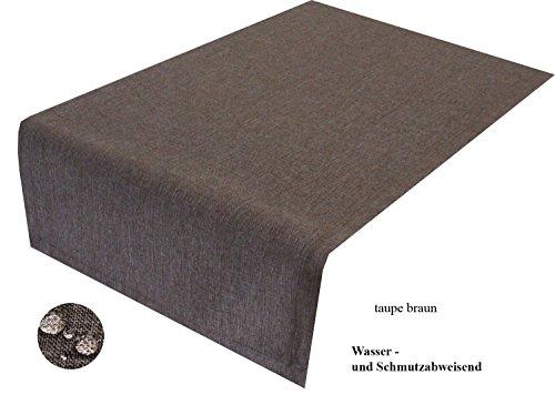 Tischläufer taupe braun 40 x 200 cm abwaschbar, Schmutz- und Wasserabweisend, eckig – Größe & Farbe wählbar -