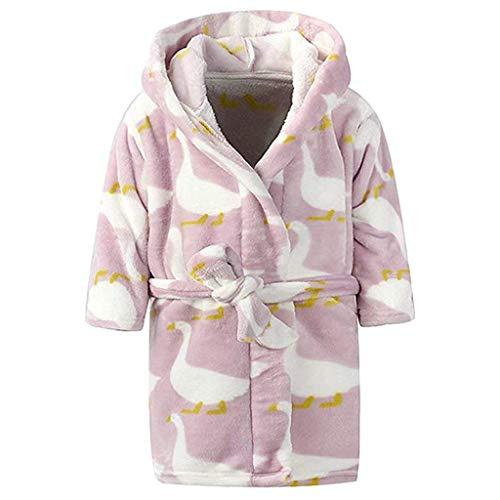 OverDose Damen Kinder Baby Print Flanell Bademäntel Hoodie Handtuch Pyjamas Home Party Nacht Plüsch Weichen Kleid(Violet,12-18 Monate)