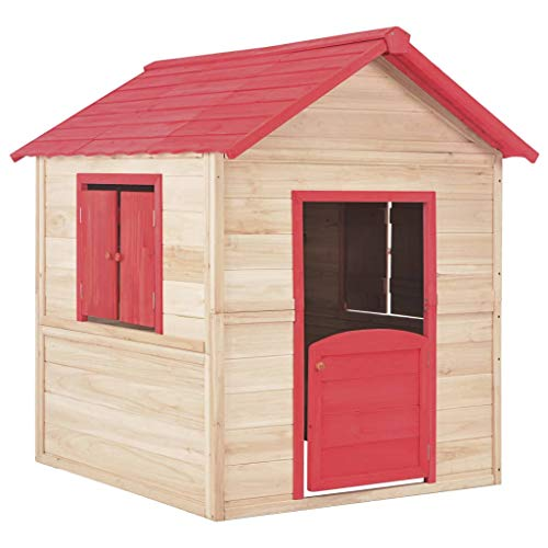 Festnight- Kinderspielhaus Holz-Spielhaus für Kinder 107 x 128 x 128 cm Stelzenhaus Garten Baum Turm Holzhaus mit 2 Fenstern Holz Rot