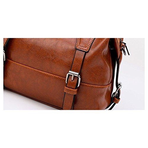 Boston Handtasche Boston PU Leder Handtasche metall reißverschluss Schultertasche Schulter Tasche Frauen Mode Winter Schulter Messenger Bag Vintage Style Handtaschen, Schwarz Schwarz