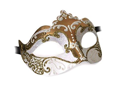 Unbespielt Handarbeit Original Venezianische Maske Damen Colombina Stella weiss gold