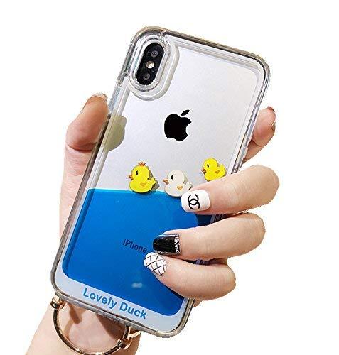UnnFiko Dynamic Blue Liquid Floating Case Kompatibel mit iPhone 7 Plus/iPhone 8 Plus, Gelbe Enten & Piratenschiff, flexibel, weiche Gummihülle mit Quicksand Cover, iPhone XR, Three Ducks