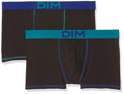 Dim Mix and Colors Boxer X2 Shorty Homme, Noir (Noir Ct Jaune Safran/ Noir Ct Bleu Marin), Medium (Taille Fabricant: 3) (lot de 2)