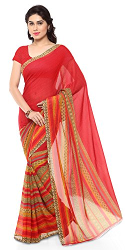 Anand Sarees Faux Georgette Saree (Multicolour/Red)