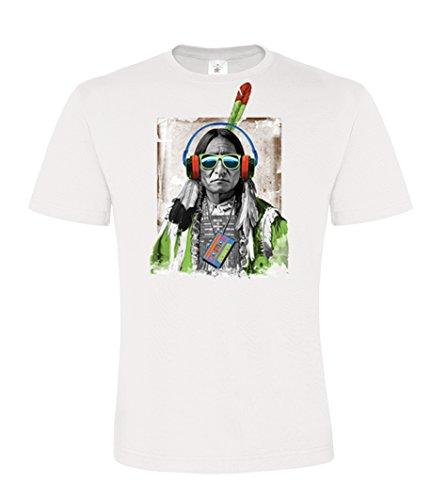 DarkArt-Designs Native Beats - Indianer T-Shirt für Herren - Indianermotiv Shirt Lifestyle Fun regular fit White