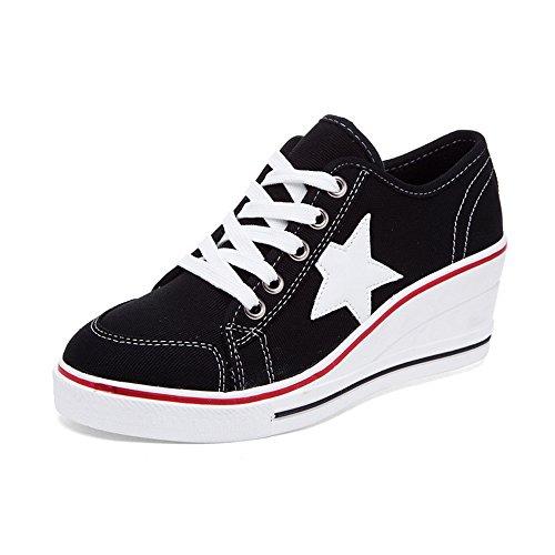 OCHENTA Damen Sneaker Pumps Keilabsatz Canvas High Heels Plattform Schick Bequem Turnschuhe Freizeitschuhe #3 Schwarz