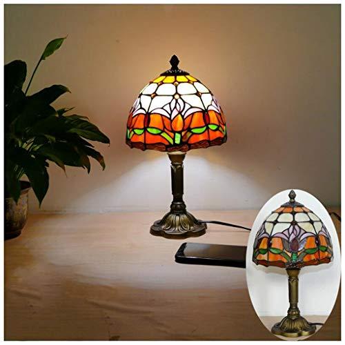 YYF Europäische retro orange Barock Tischlampe - Glas im mediterranen Stil 8 Zoll (20 cm) Barock-skulptur