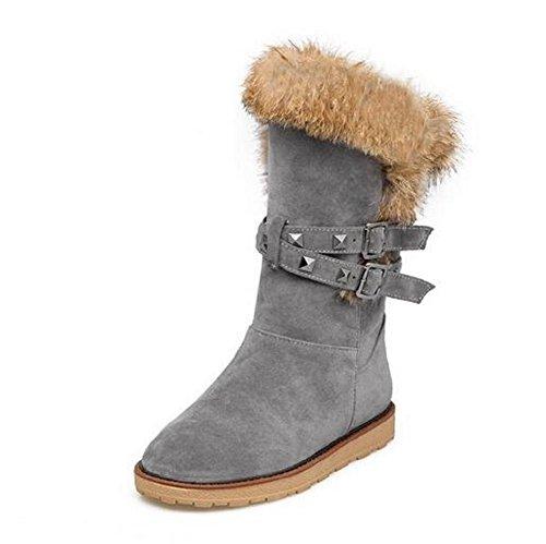 Stivali spessa della peluche donne flat - bottomed non - studenti svago slip caldo stivali da neve gray