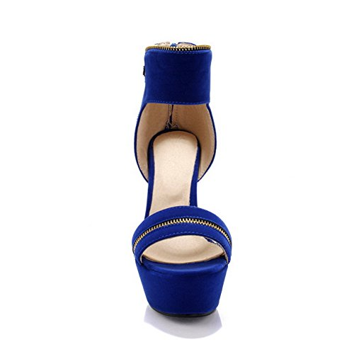 Balamasa da donna, con lacci, tacco, motivo a pois, con motivo a sandali Blue